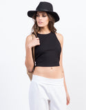 Front View of Cropped Rib Top