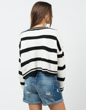 Back View of Cropped Striped Sweater
