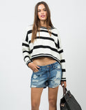 Front View of Cropped Striped Sweater