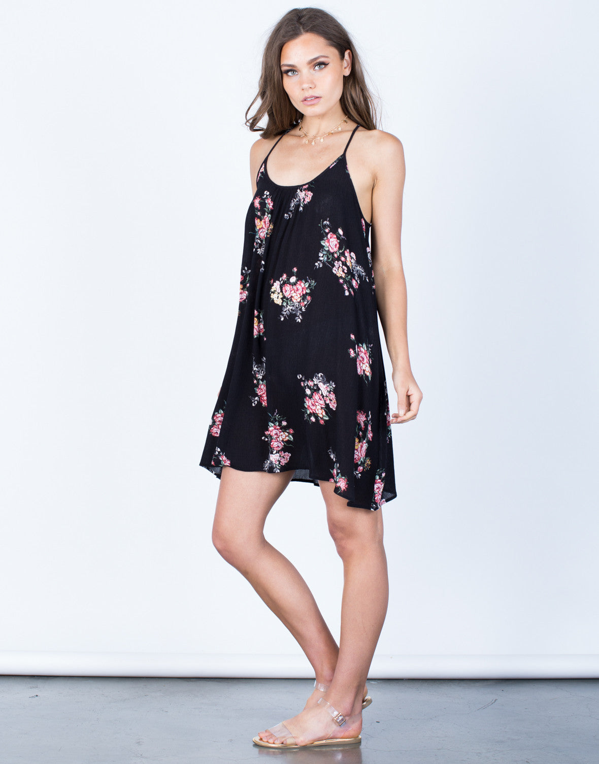 Side View of Cross Back Floral Dress