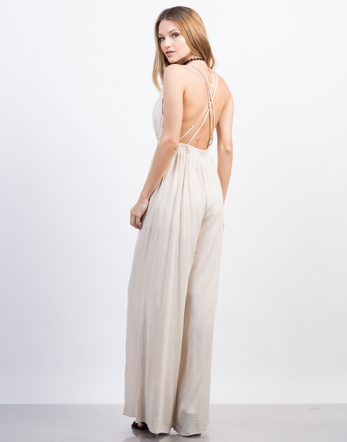 Back View of Cross Back Jumpsuit