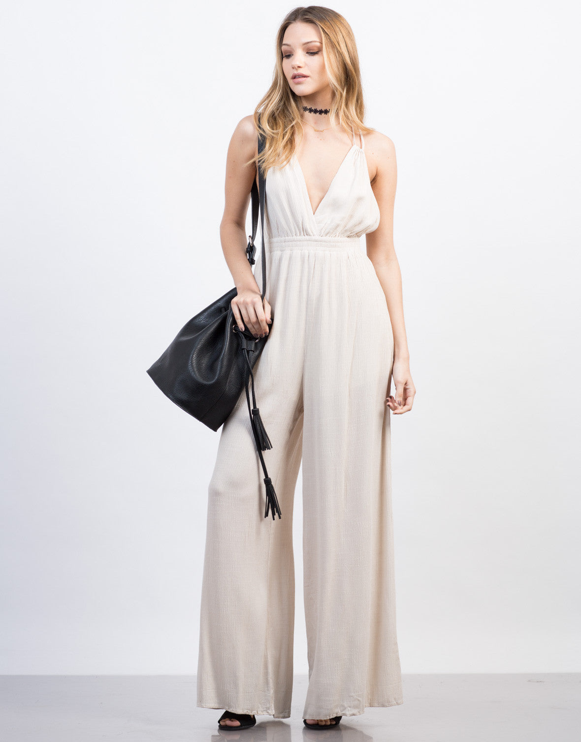Front View of Cross Back Jumpsuit