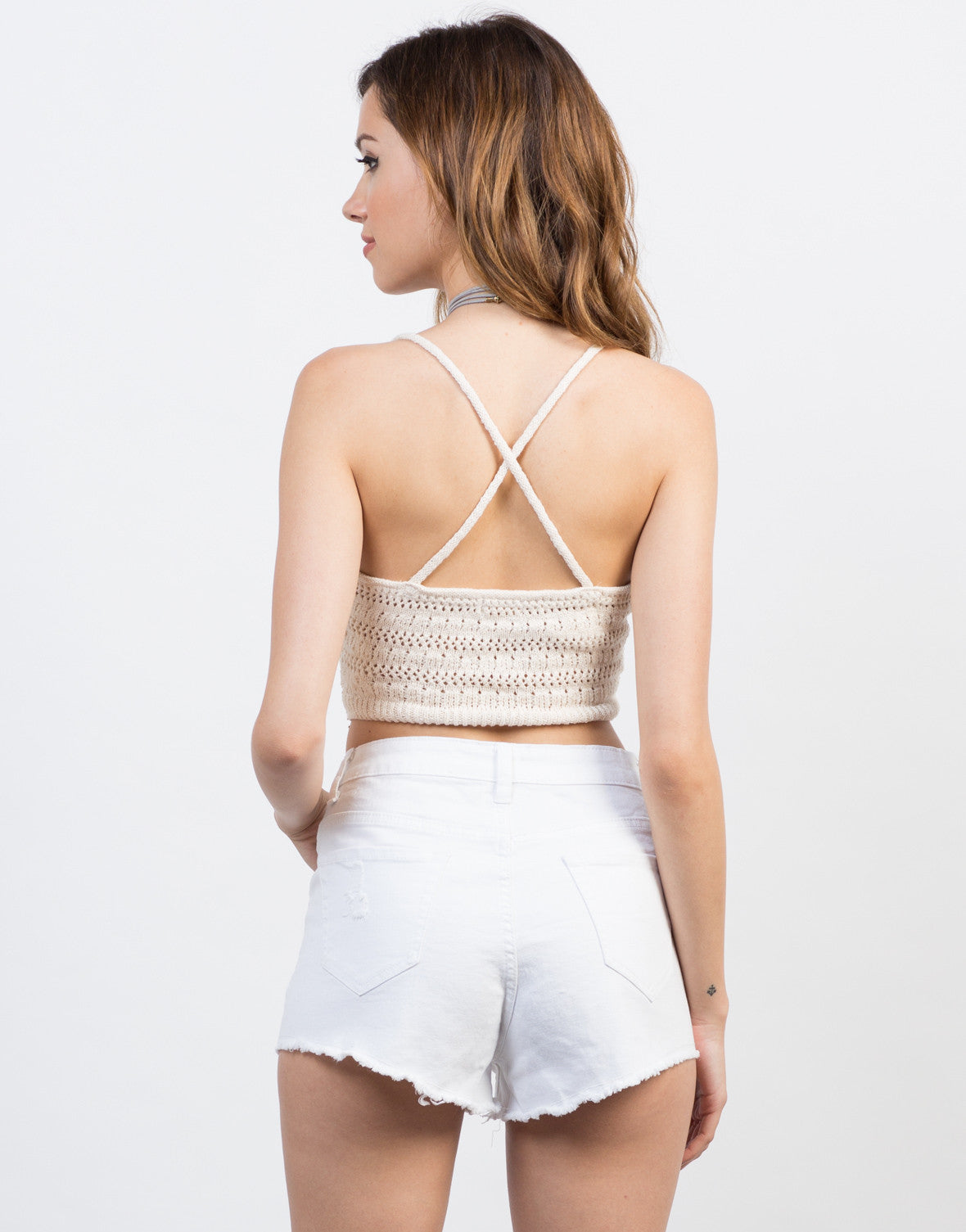 Back View of Cross Back Knit Crop Top