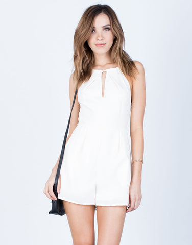 Front View of Cross Back Linen Romper