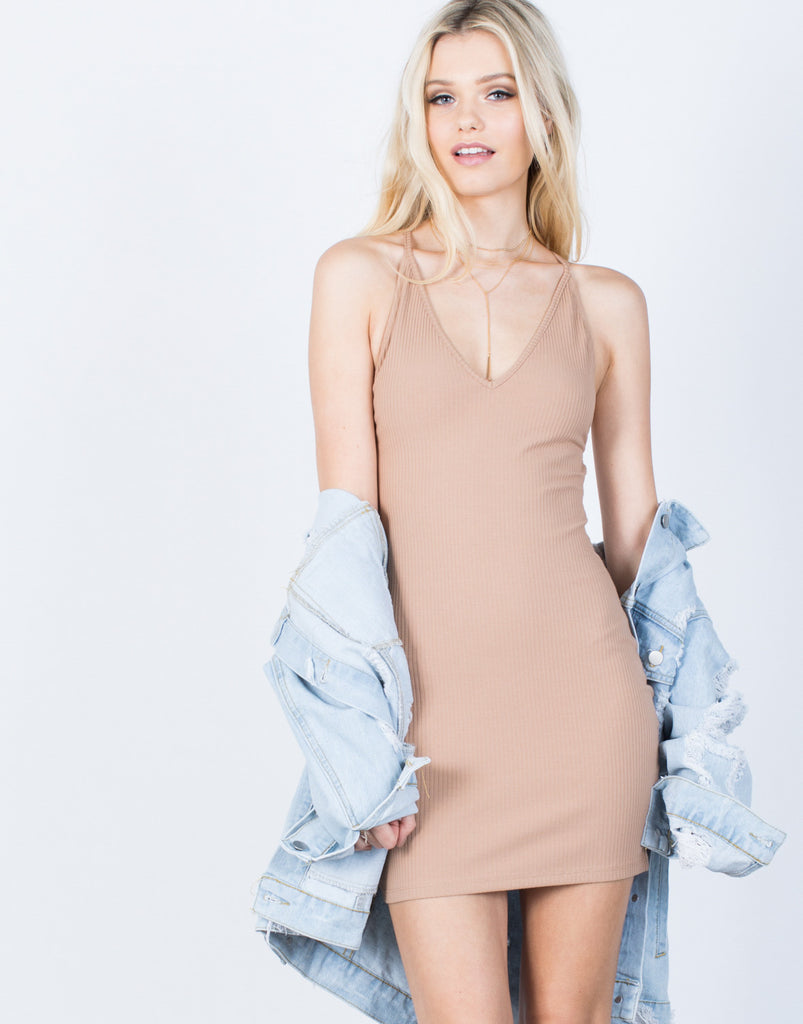Cross Back Ribbed Dress - 2020AVE