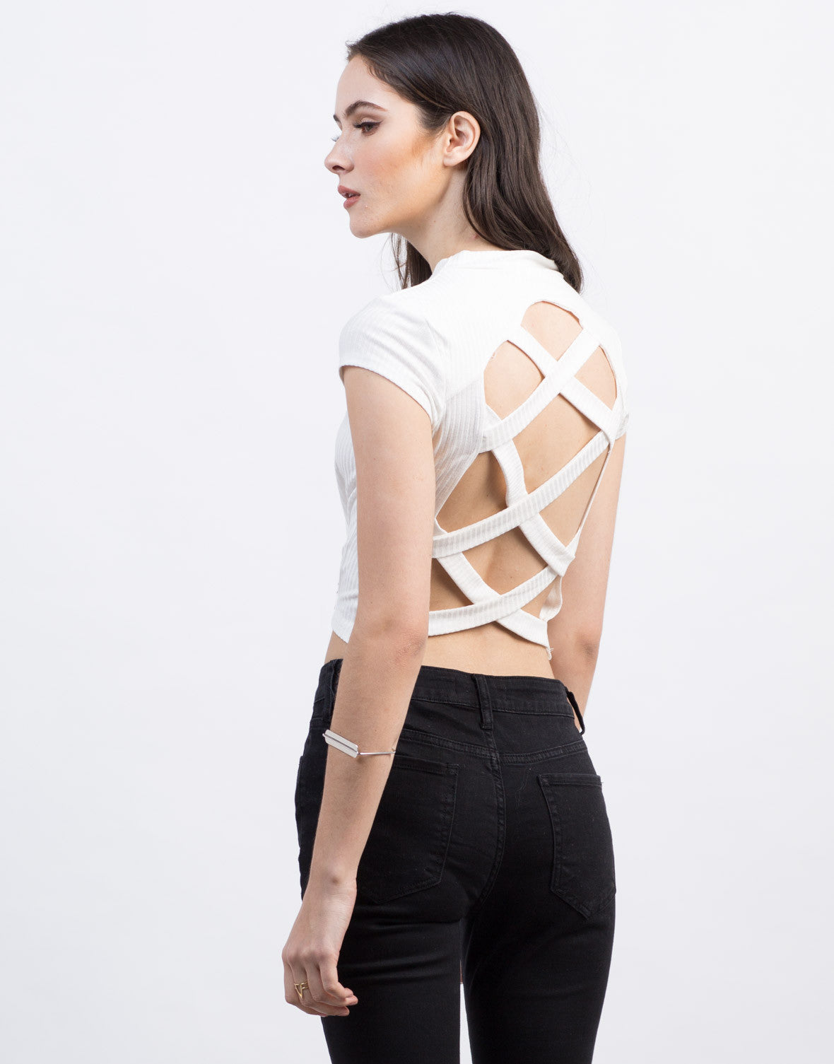 Back View of Cross Back Ribbed Top