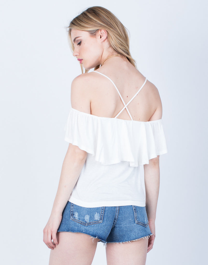 Back View of Cross Back Ruffled Blouse
