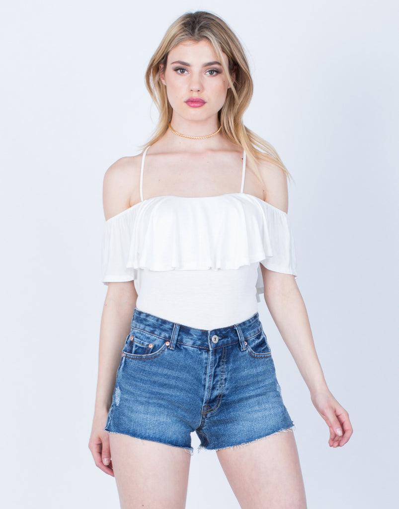 Front View of Cross Back Ruffled Blouse