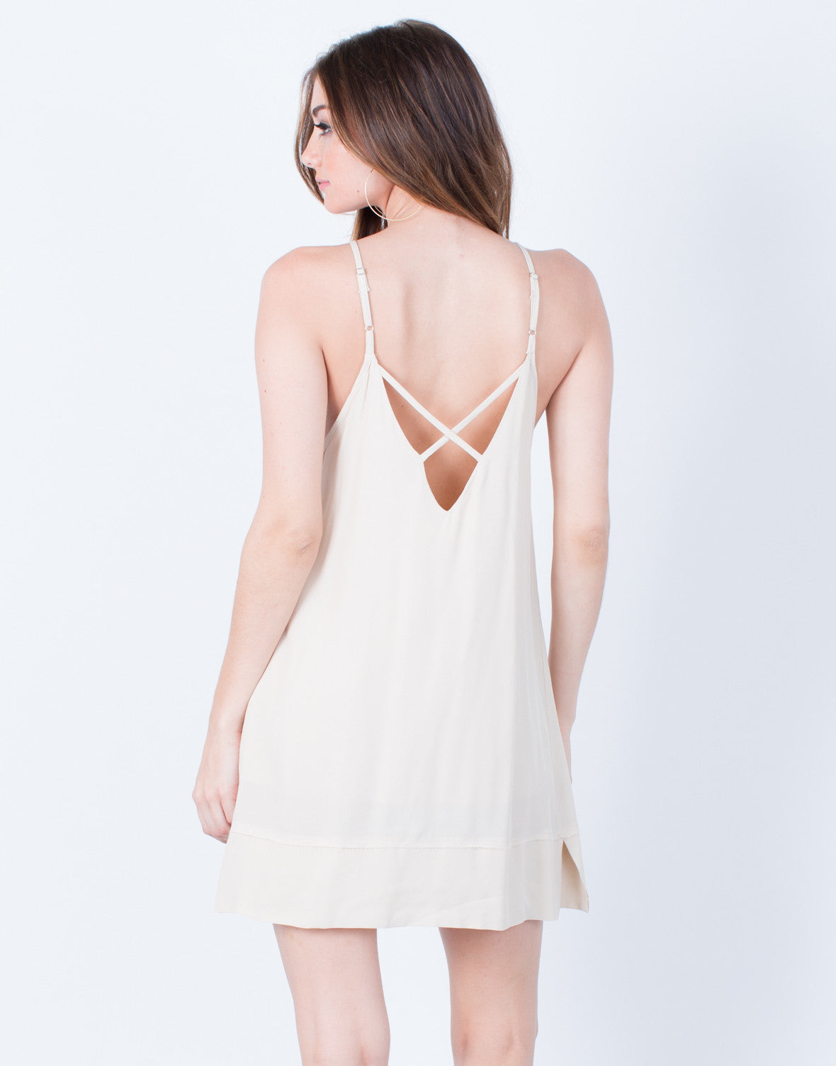 Back View of Cross Back Slip Dress