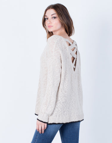 Back View of Cross Back Sweater Top