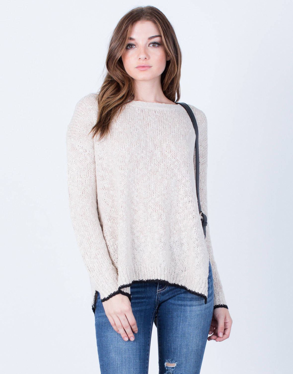 Front View of Cross Back Sweater Top