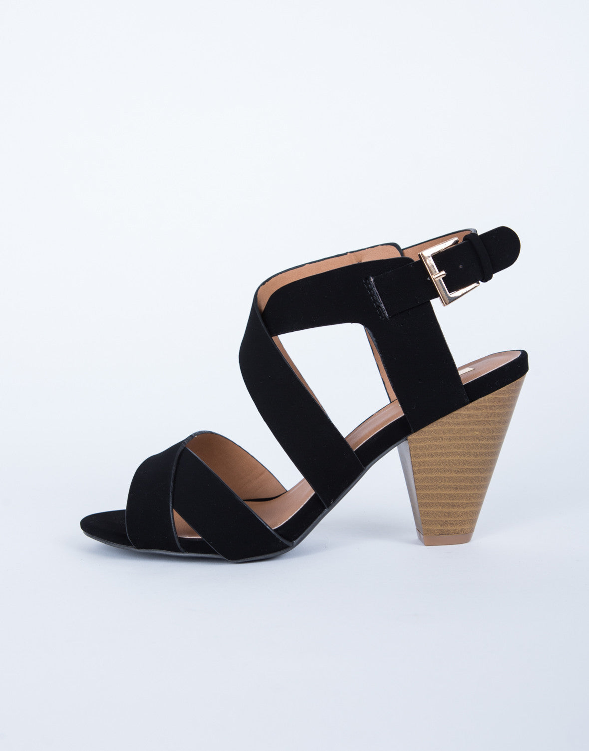 Black sandals with heels -  Cross Banded Sandals