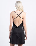 Back View of Cross Halter Leather Mini Dress