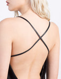 Detail of Cross Halter Leather Mini Dress