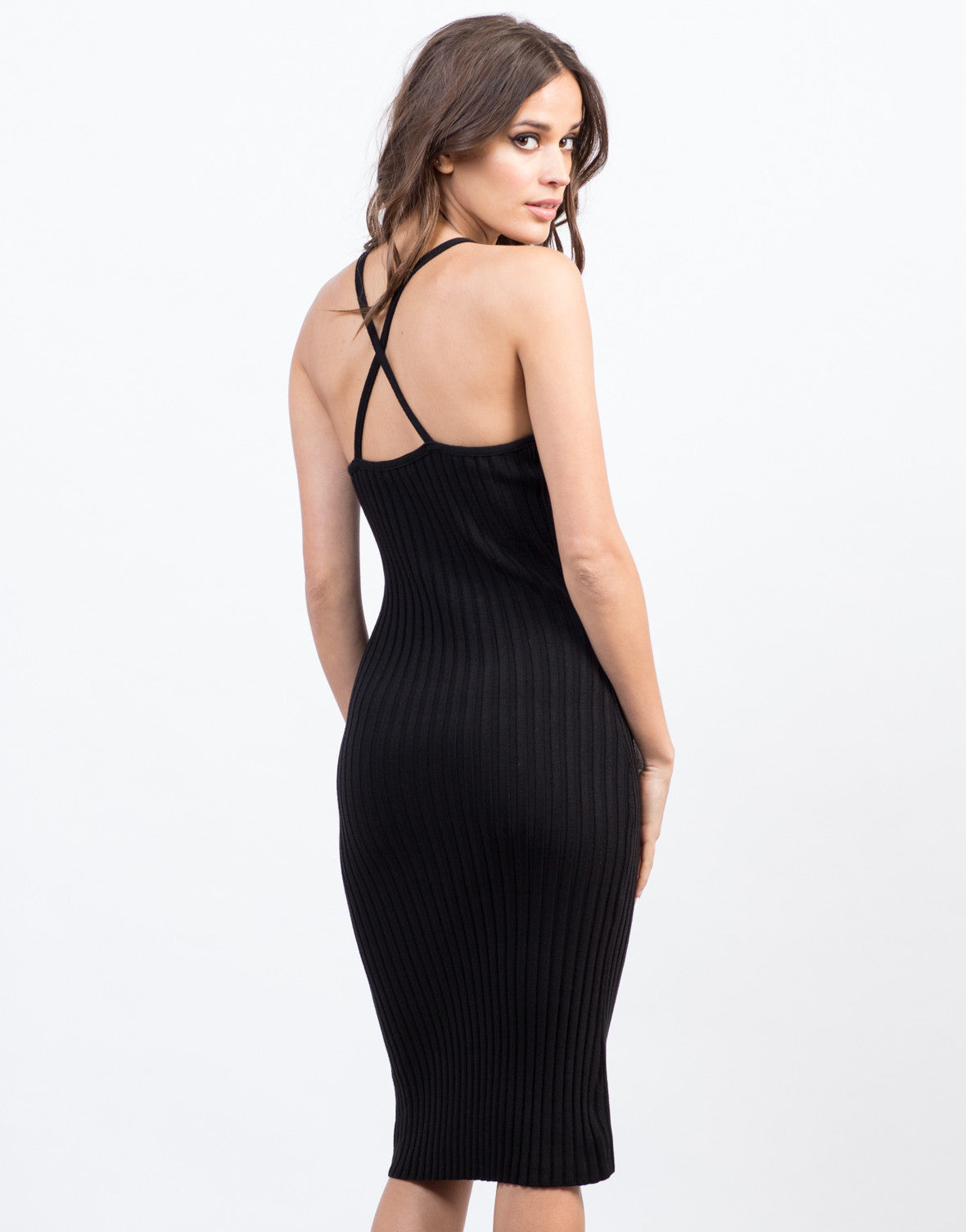 Back View of Cross Back Bodycon Dress