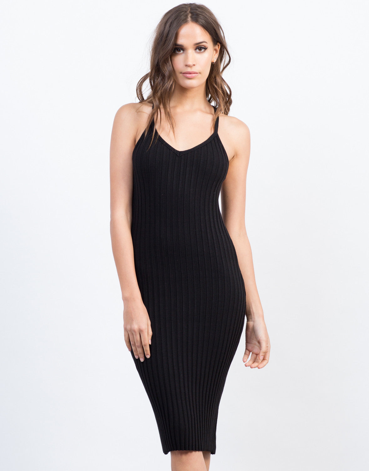 Front View of Cross Back Bodycon Dress