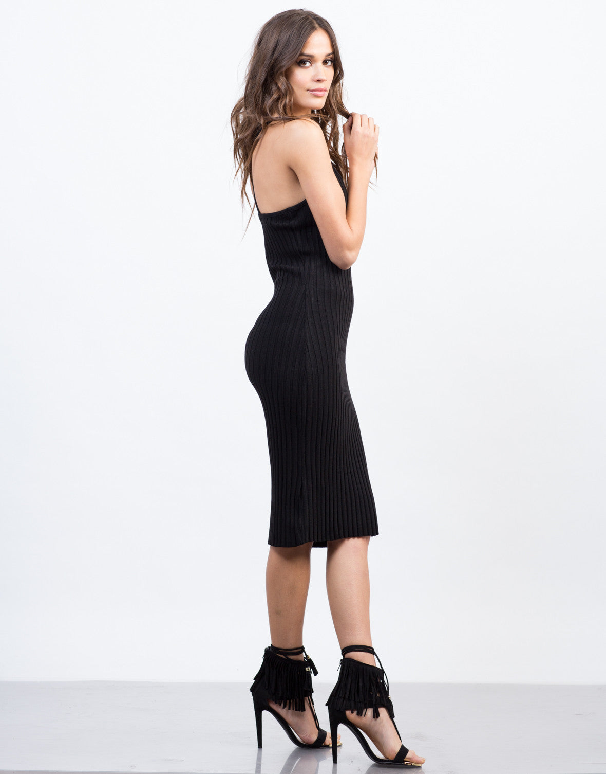 Side View of Cross Back Bodycon Dress