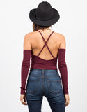 Back View of Cross Back Cropped Top