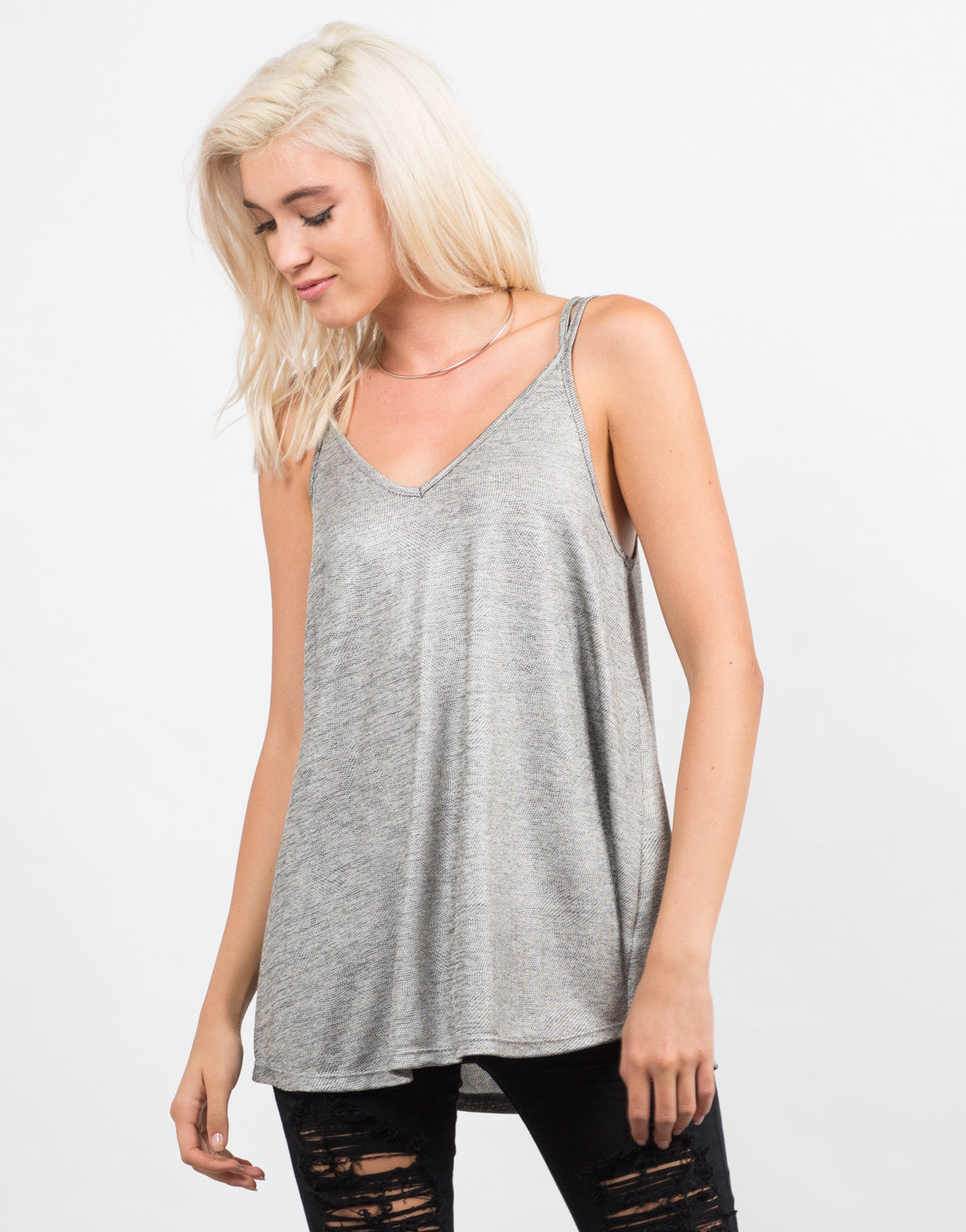 Front View of Cross Back Flare Cami