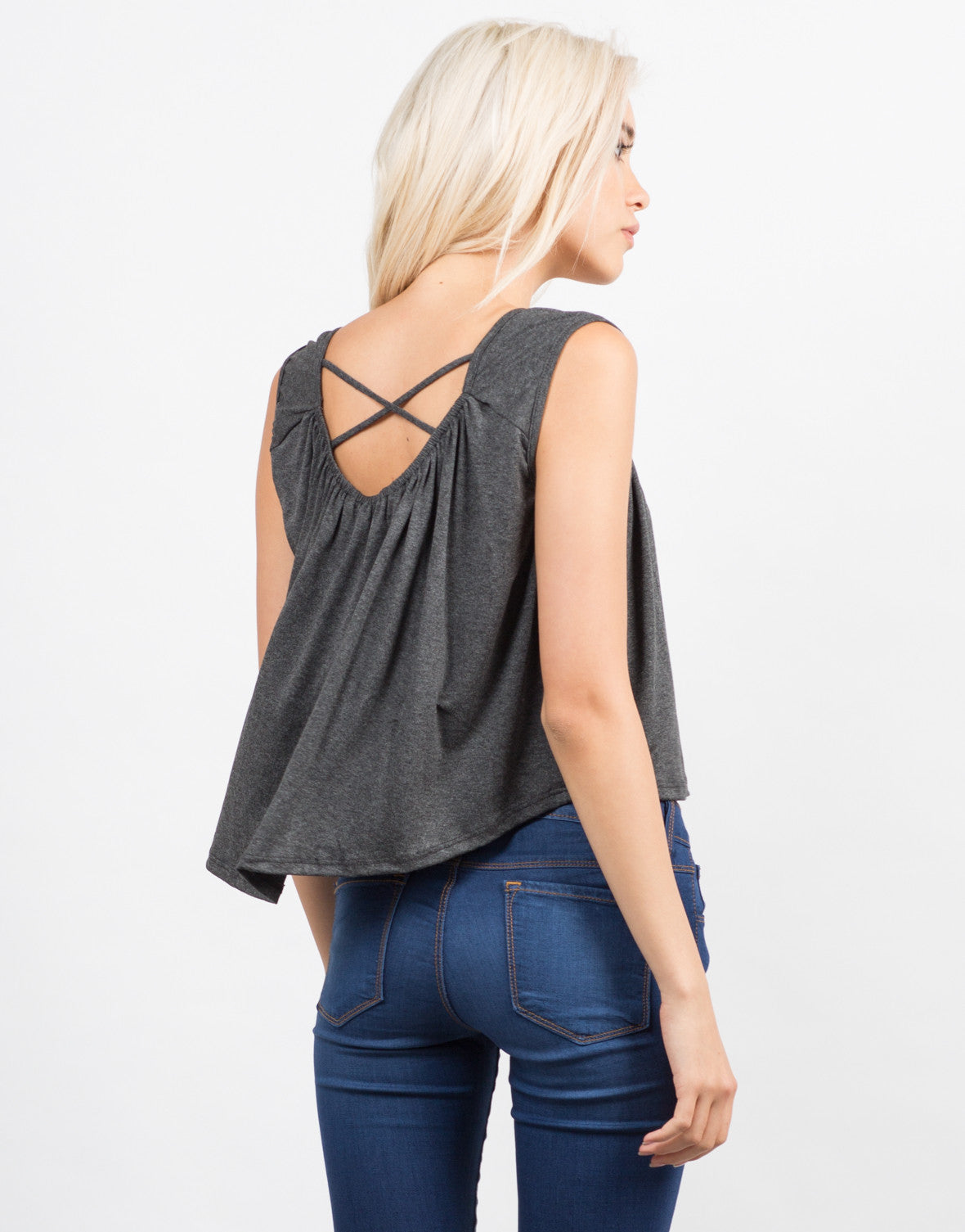 Back View of Cross Back Flowy Top
