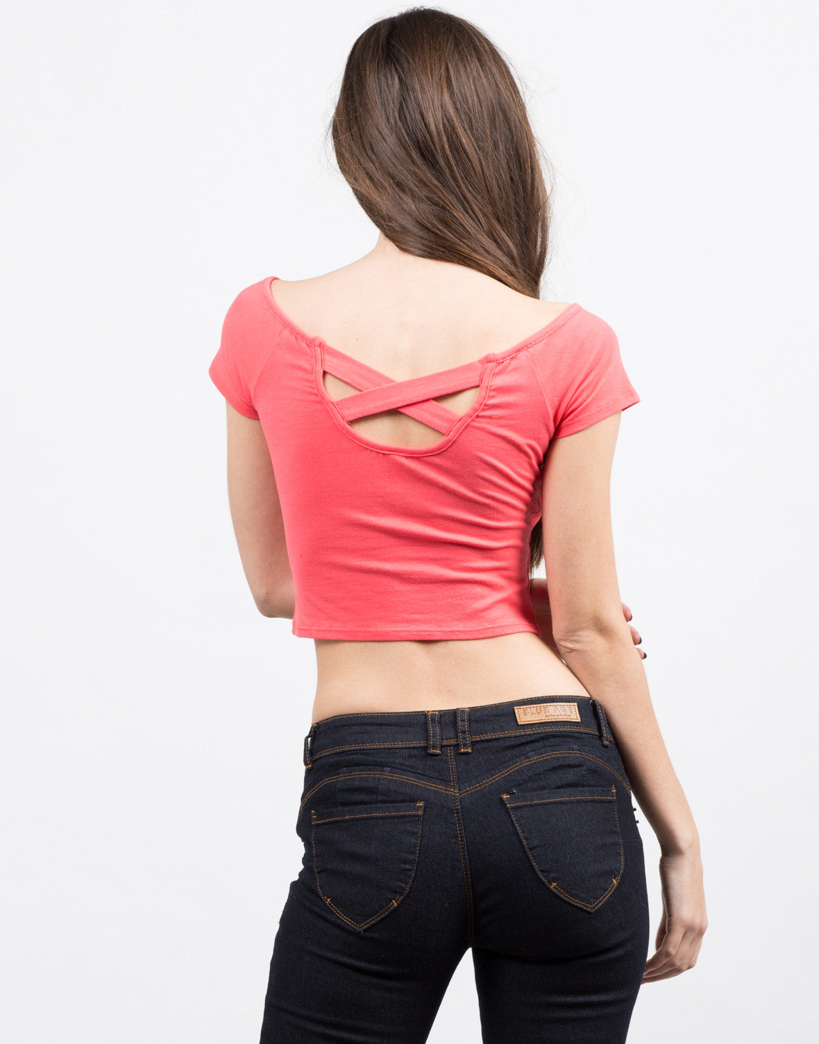 Back View of Cross Back Off the Shoulder Top