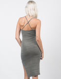Back View of Cross Back Slit Midi Dress