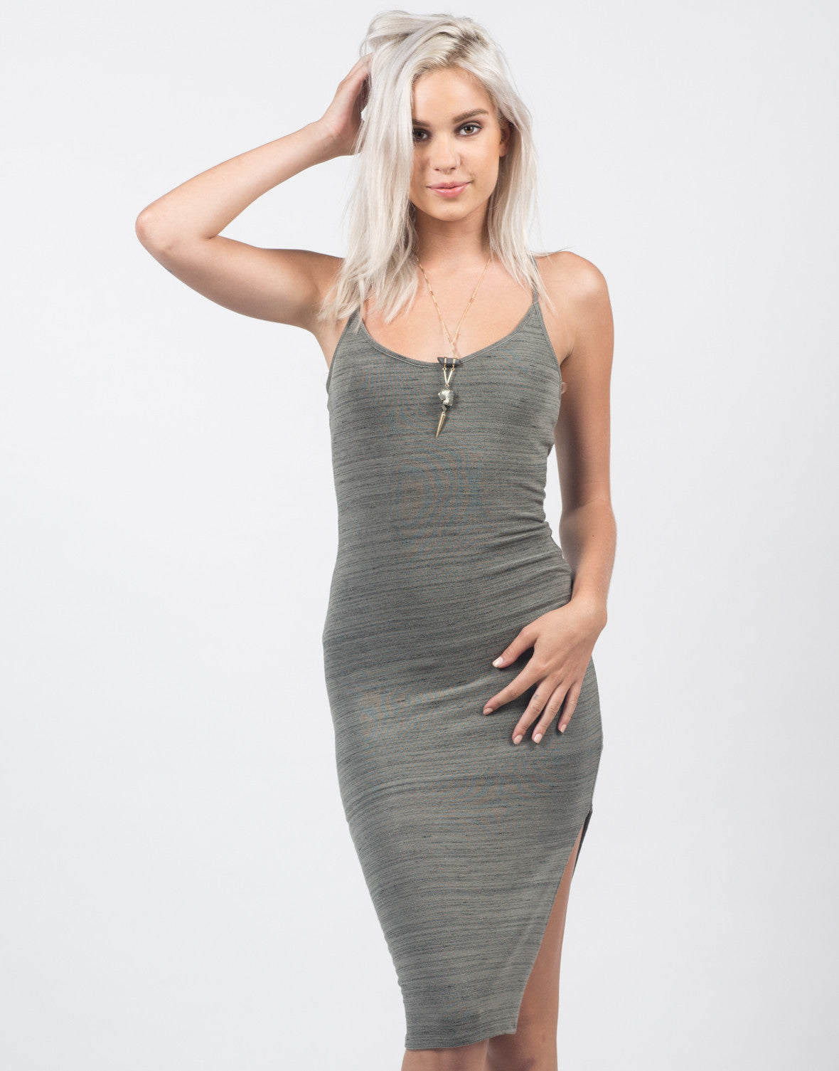 Front View of Cross Back Slit Midi Dress