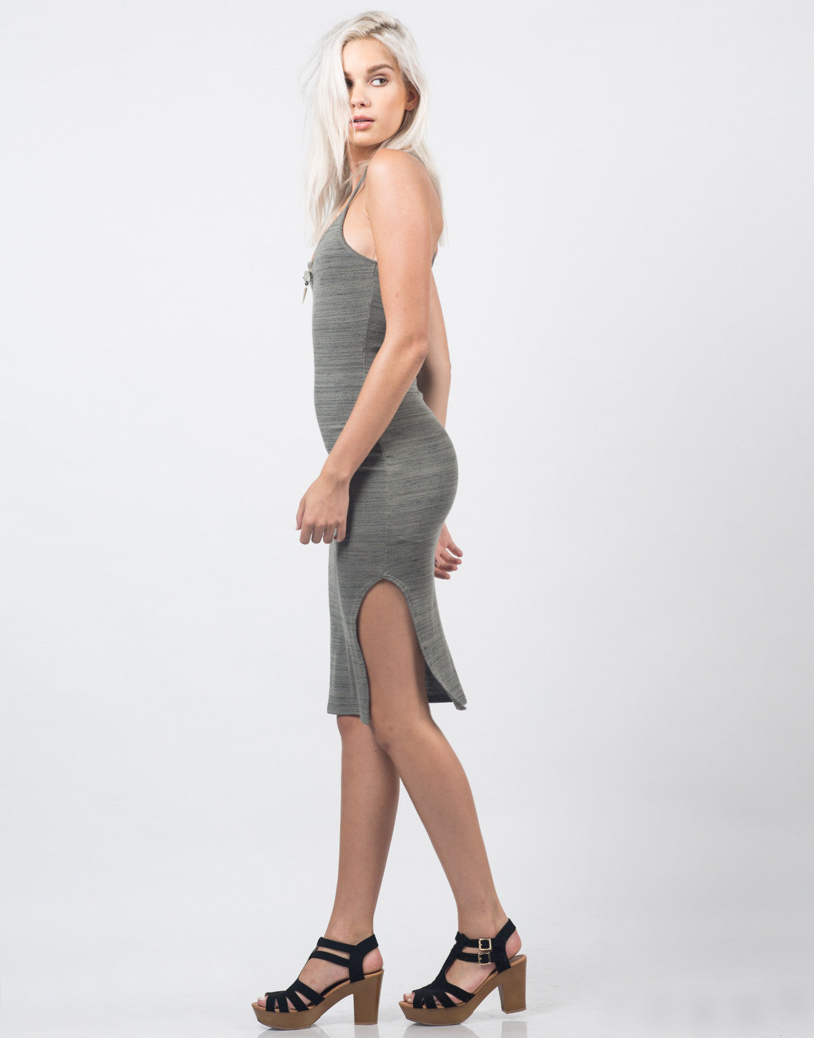 Side View of Cross Back Slit Midi Dress