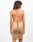 Back View of Cross Back Suede Dress