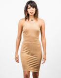 Front View of Cross Back Suede Dress