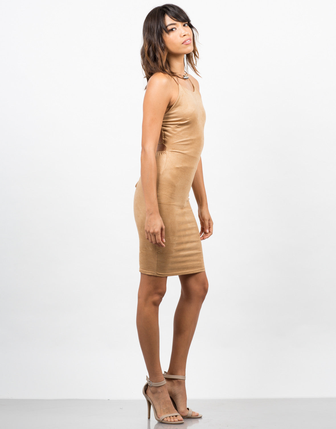 Side View of Cross Back Suede Dress