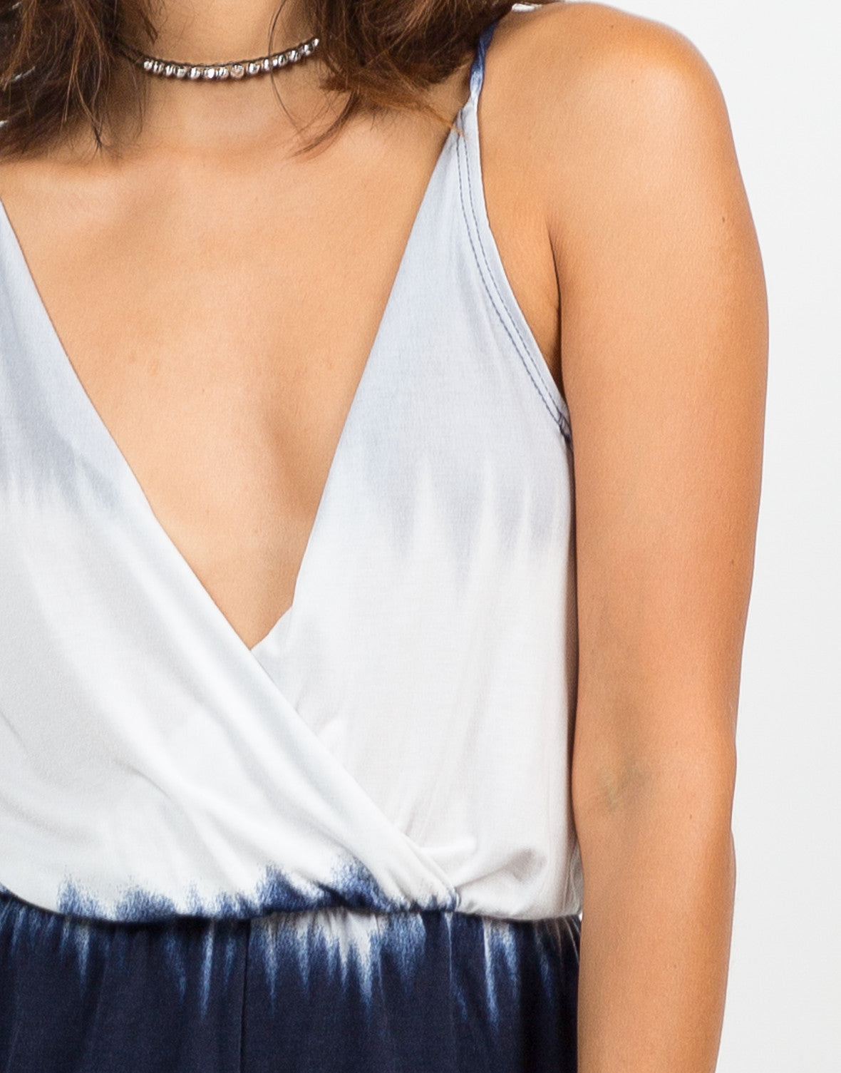 Detail of Cross Back Tie-Dye Romper