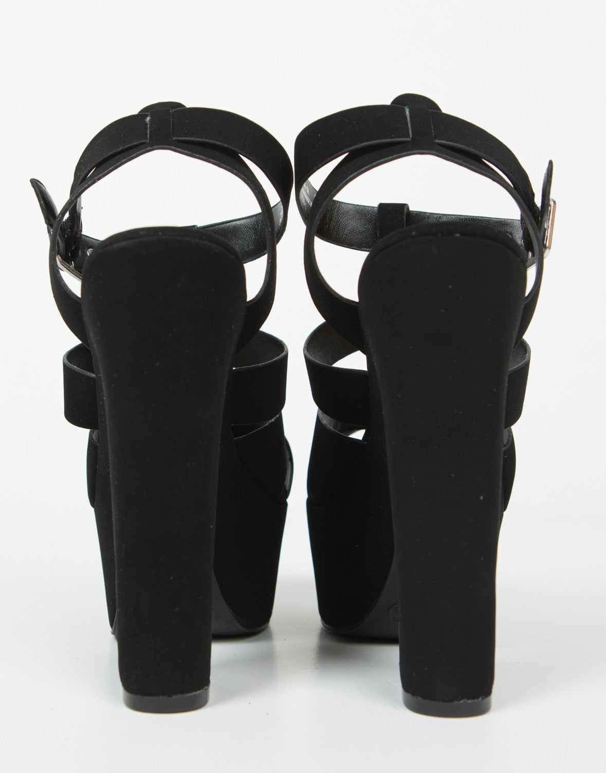 Back View of Cross Band Chunky Platform Heels