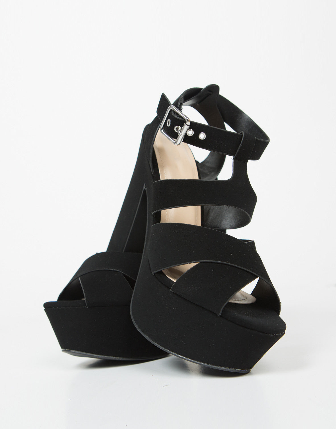 Front View of Cross Band Chunky Platform Heels