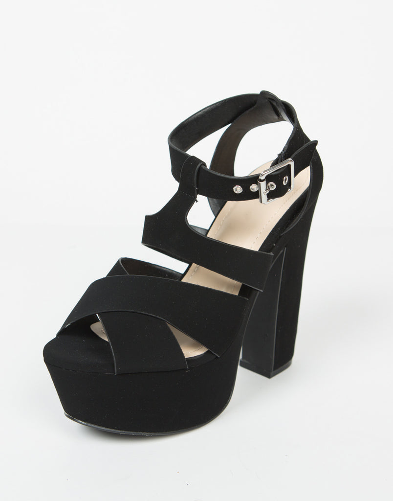 Cross Band Chunky Platform Heels - 2020AVE