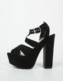Side View of Cross Band Chunky Platform Heels