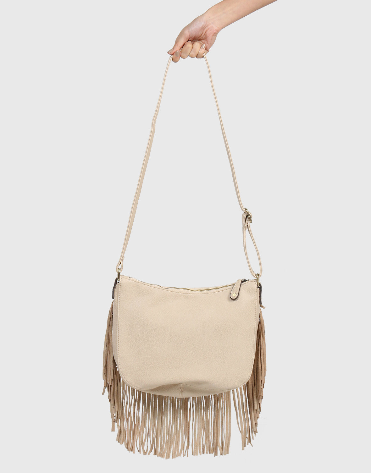 Crossbody Studded Fringe Bag - Cream