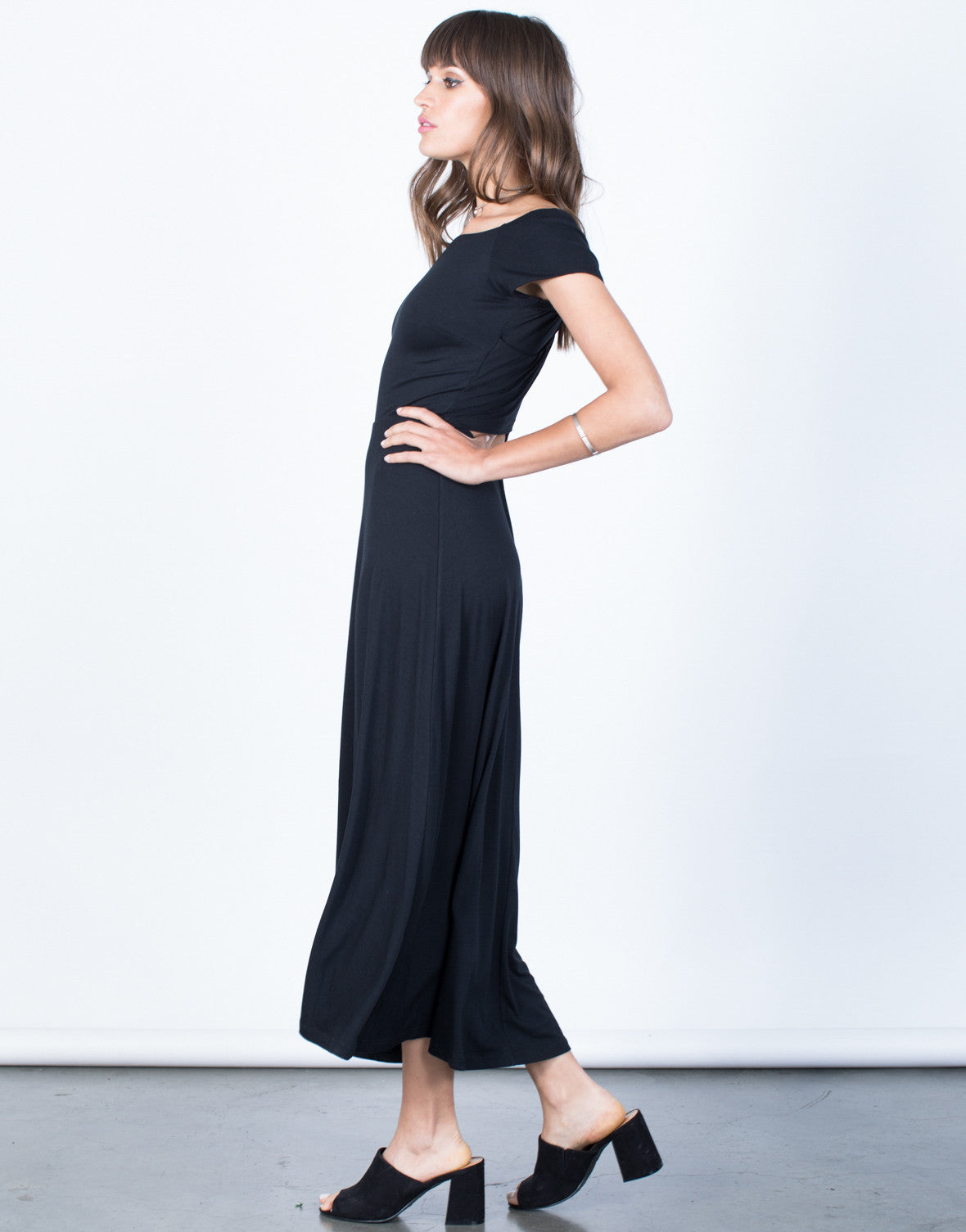 Side View of Crossed Back Flow Dress