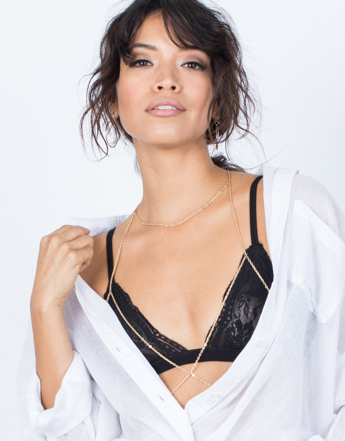Gold Crossed Bralette Body Chain - Front View