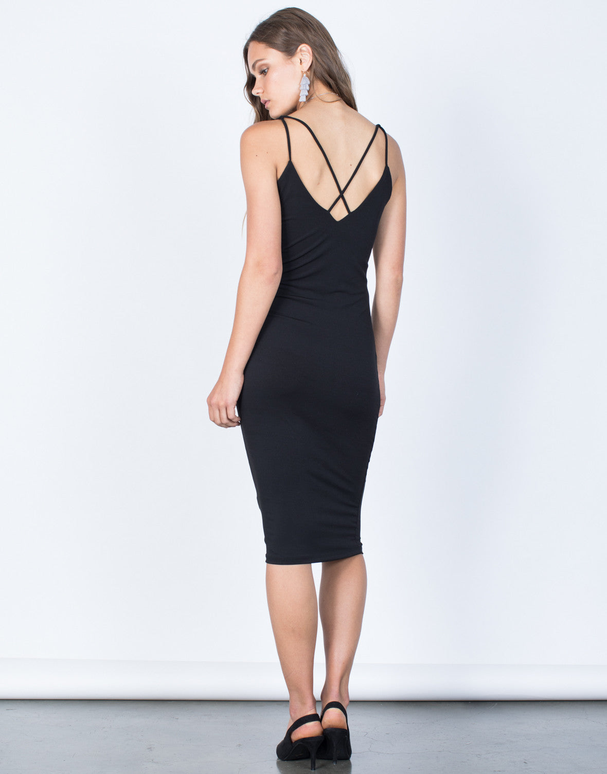 Back View of Crossed in Bodycon Dress