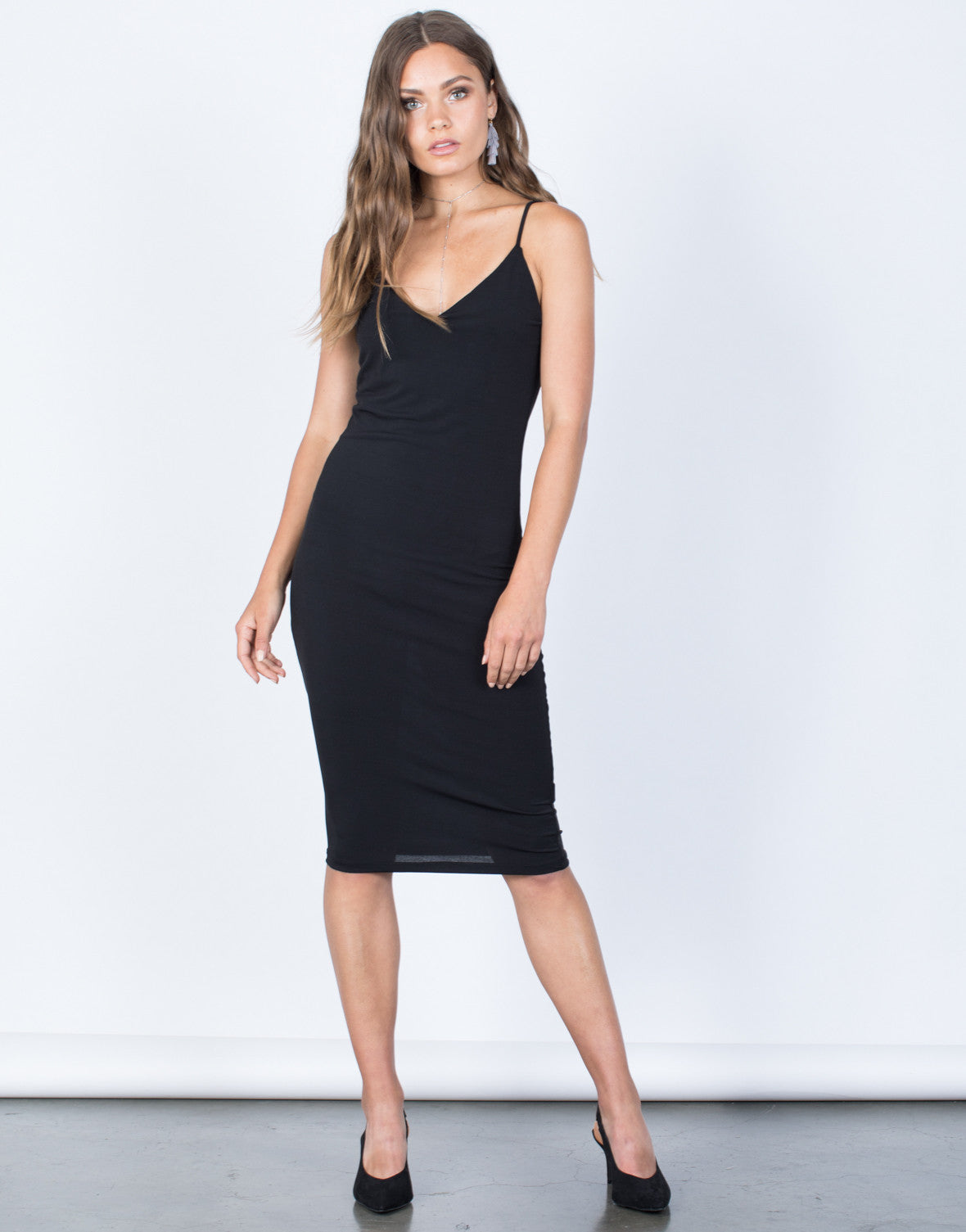 Front View of Crossed in Bodycon Dress