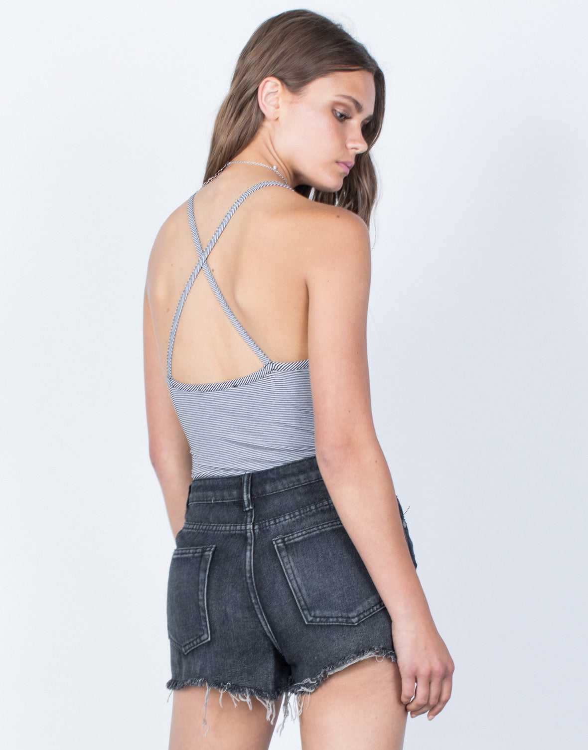 Back View of Crossed in Stripes Bodysuit