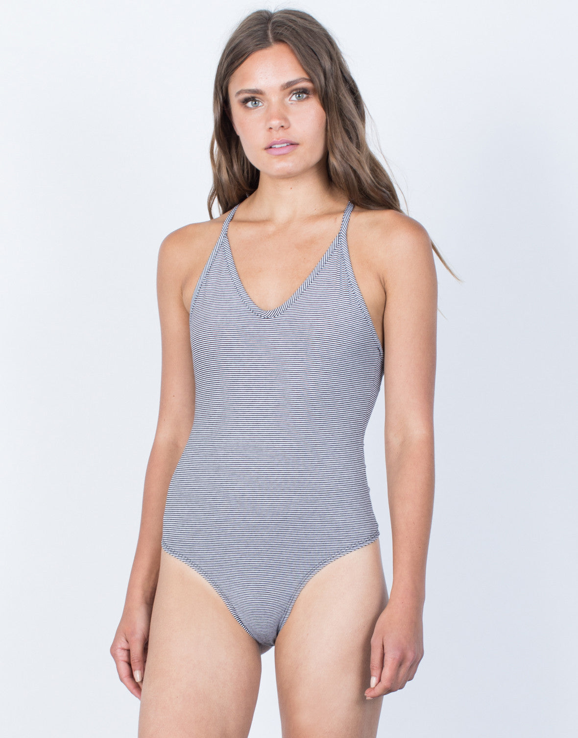 Front View of Crossed in Stripes Bodysuit