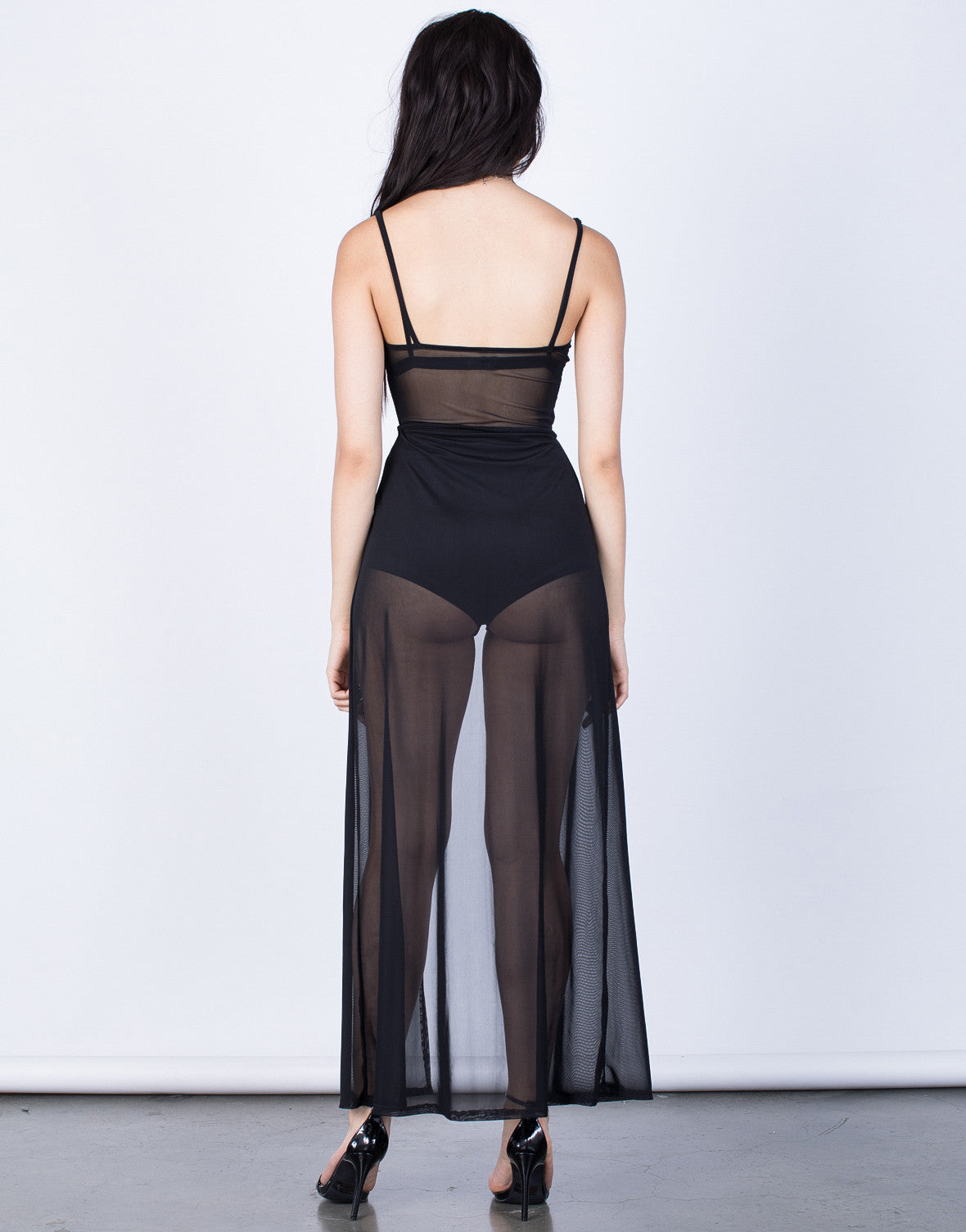 Back View of Crossed Mesh Maxi Dress