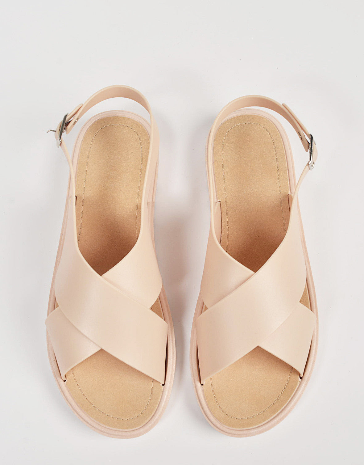 Top View of Crossed Jelly Slingback Sandals