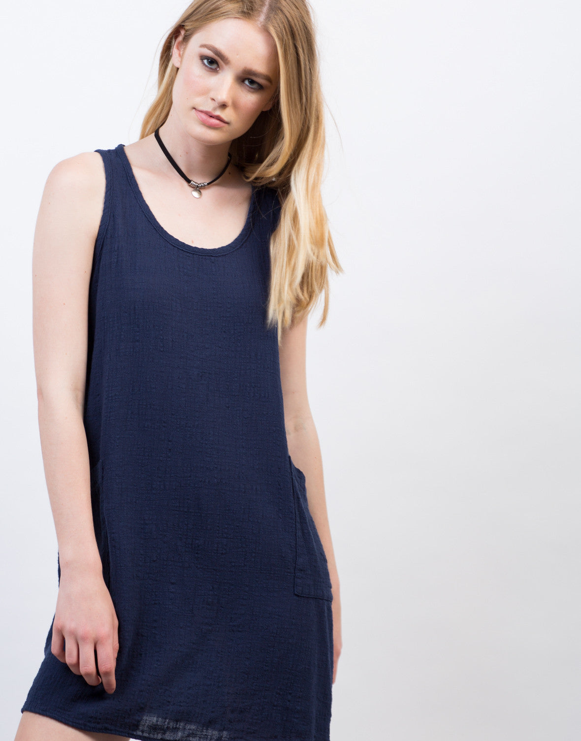 Detail of Crosshatch Cotton Sleeveless Dress