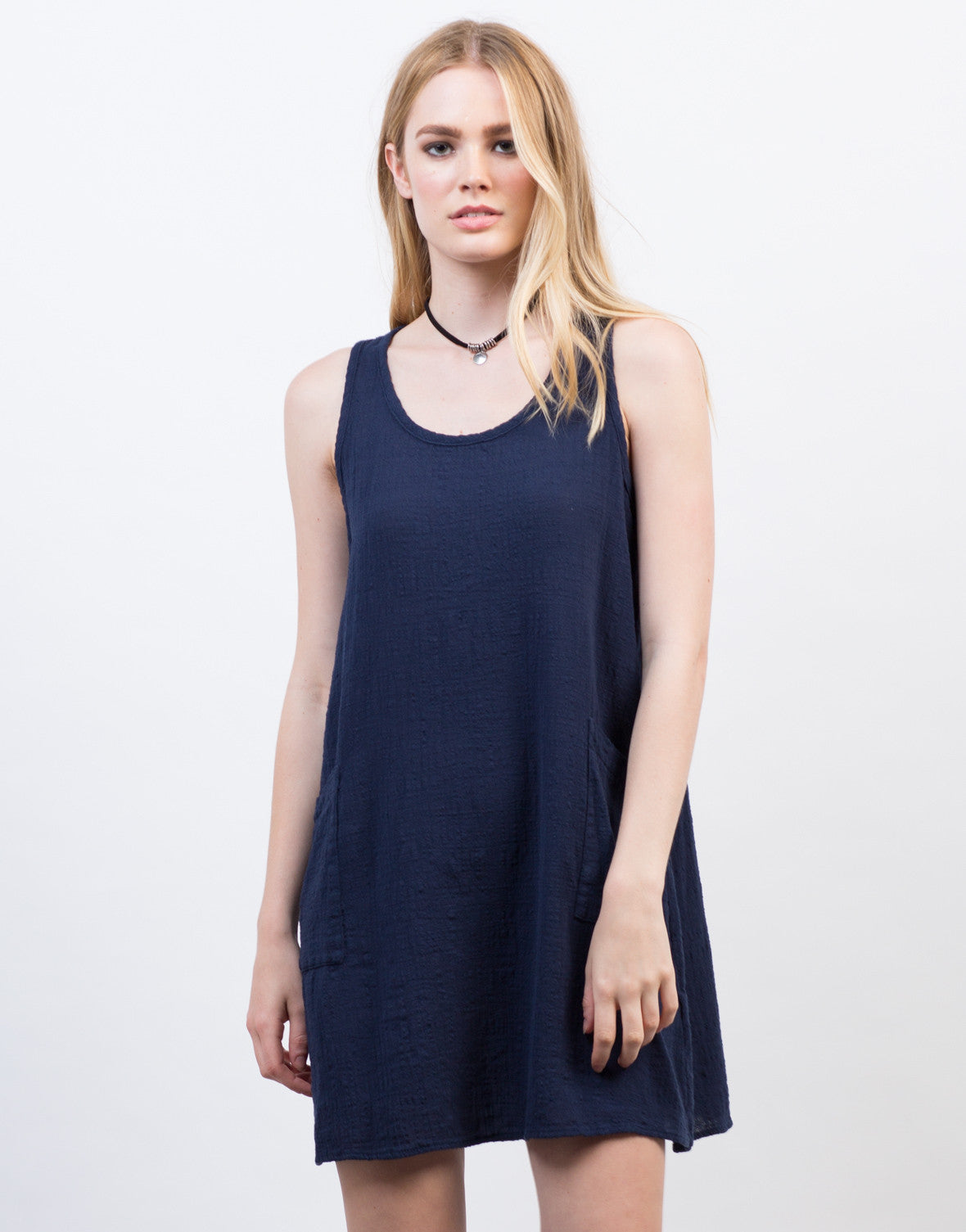 Front View of Crosshatch Cotton Sleeveless Dress