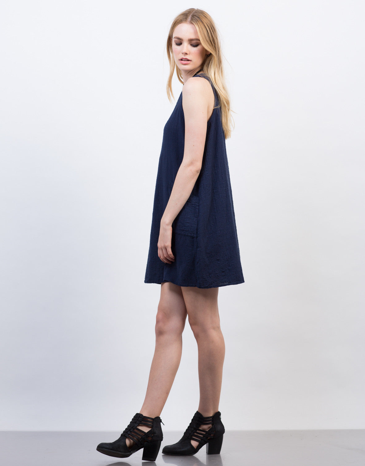 Side View of Crosshatch Cotton Sleeveless Dress
