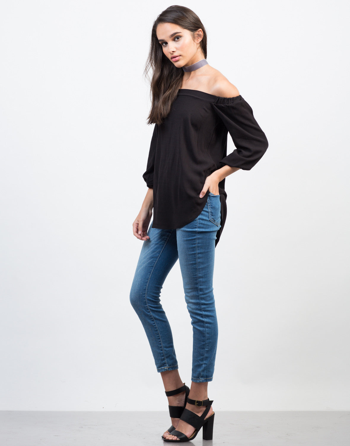 Side View of Crosshatch Off-the-Shoulder Top