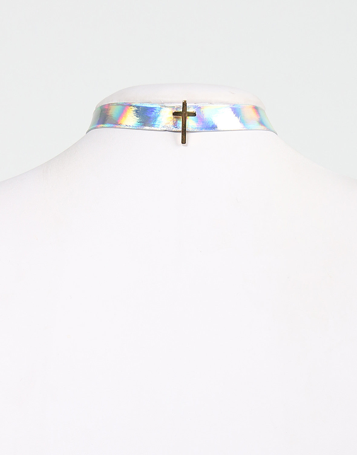 Cross Hologram Choker Necklace